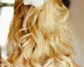 Everleigh Bridal Hair Flower, Ivory, White, Wedding Clip, Fascinator, Headpiece, Veil, Elegant, Bridesmaid, Pearls