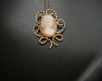 Carved Shell Cameo Gold Filled Pendant Necklace