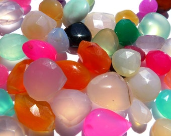 LOT chalcedony briolette beads, by BrazilianGems