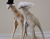 giraffe cake topper in wool, linen and vintage lace- made to order