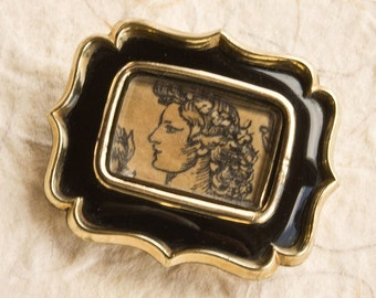Georgian Mourning Brooch With Classical Portrait, Antique Mourning Pin, Black Enamel & Pinchbeck,Circa 1830s