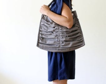 Euphoria in Light Grey /Diaper Bag / Outside Pockets / Pleated Bag / Shoulder Bag / Travel Bag / Large / Cross Your Body / Choose your Color