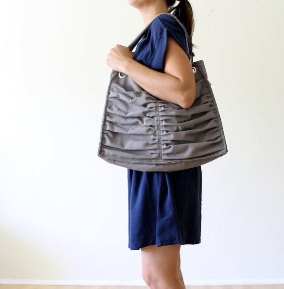 Euphoria in Light Grey /Diaper Bag / Outside Pockets / Pleated Bag / Shoulder Bag / Travel Bag / Large / Cross Your Body / Choose your Color