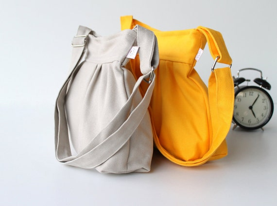 Pleated Bag in Canary Yellow - Small - adjustable strap / top ZIPPERED CLOSURE / Christmas gift / Holiday / For women / Teens /  For her