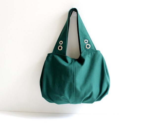 Last One - READY TO SHIP - Grandy Large Hobo Bag in Emerald Green, Diaper Bag, Pleated Bag, Zipper Closure / Zipper Pocket / Spring / Summer
