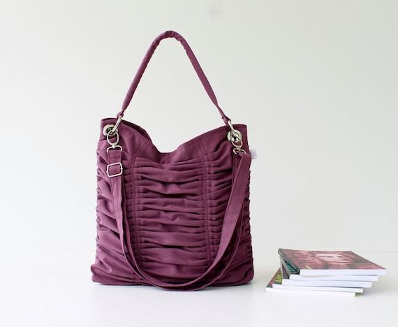Last One, Poetry in Plum Purple ZIPPER CLOSURE, Pleated Bag, Shoulder Bag, Diaper Bag, Large / Ruffles Bag / Messenger Bag / Cross Your Body