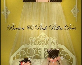 Princess BED Canopy TOPPER Mosquito Net Brown and Pink Embroidered Personalized Monogram