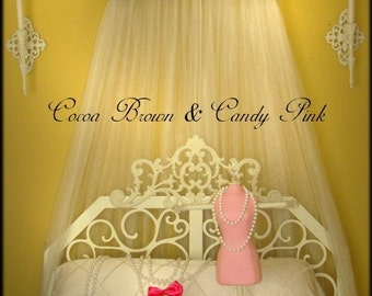 Personalized Crown Bed Canopy  Upholstered Teester Princess Monogrammed Brown Pink