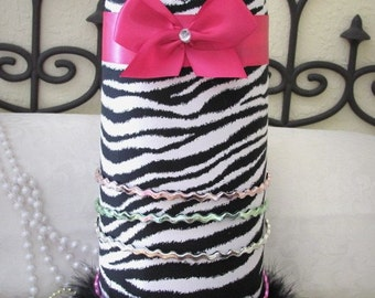 Princess Zebra Black White Hot PiNk Headband Hairbow Jewelry Necklace holder SALE
