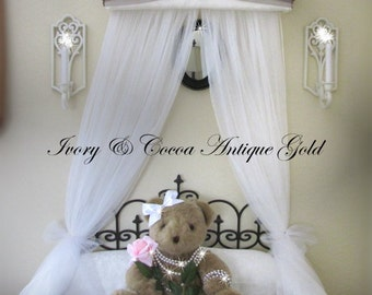 Upholstered Personalized FREE Bed Canopy Crown Princess Ivory brown gold SaLe