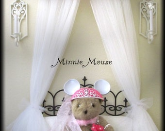 MINNIE MOUSE Disney inspired Girls bedroom decor Bed Crown Canopy Princess Hot Pink Custom design So Zoey Boutique upholstered teester Sale