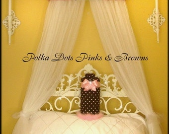 Upholstered Teester FREE Personalized SaLe Pink Brown Polka dot Bed Canopy Crown