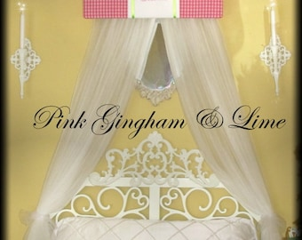 Girls Bed Canopy Princess CROWN Embroidered FrEe Monogram Gingham Hot Pink Lime Crib Nursery custom design So Zoey Boutique SALE