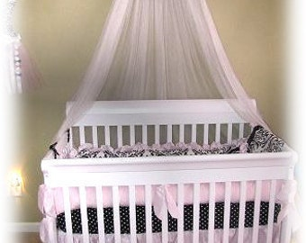Monogrammed Bed Crown Canopy Princess Pink Black Padded Embroider canopy SaLe