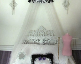 Crib Crown Canopy Suzette White Black Paris French Swag Damask Cornice Teester Bed Custom design So Zoey Boutique with Bows Girls Room SALE