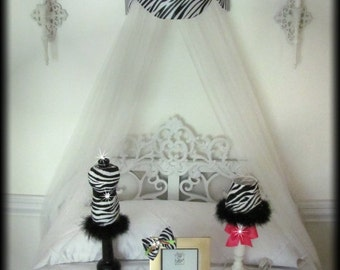 Zebra Crib Crown Canopy Cornice Teester Bed Girls bedroom Princess Suzette Pelmet Hot Pink Bows Baby FrEe Wall hanging So Zoey Boutique SALE