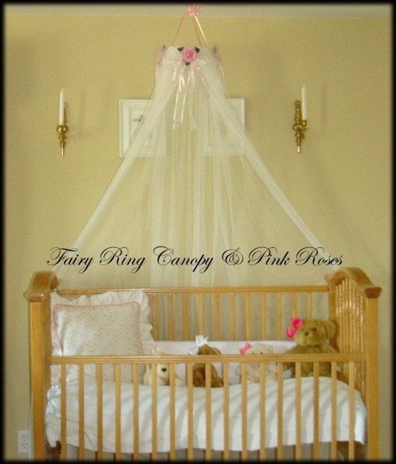 Baby bed crib canopy crown white sheers included sale princess for White canopy crib