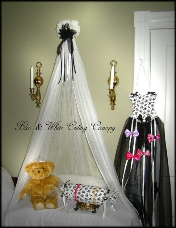 Crib Canopy CROWN Nursery Sheers Mosquito Netting Black and White SaLe