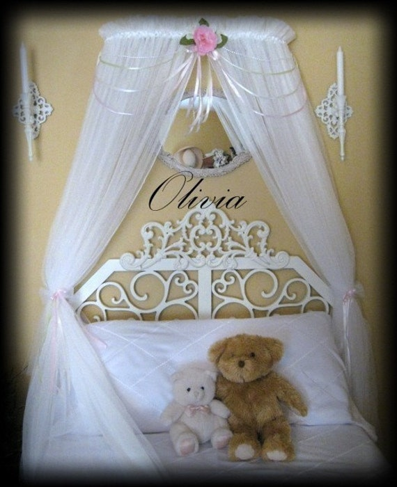 Nursery Crib Crown WHITE SHEERS INCLUDED Princess Olivia Fairy Bed Canopy Curtains