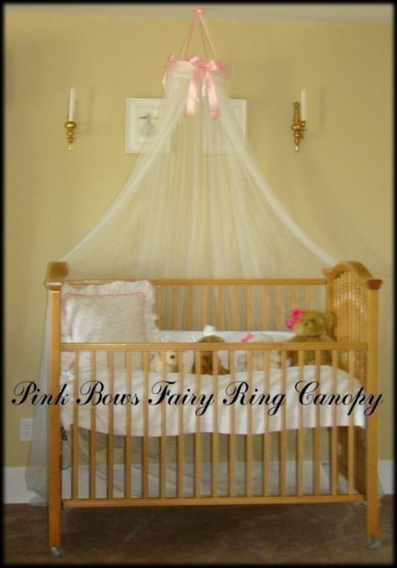 Crib Bed Princess Fairy Canopy Ring With Pink Satin Bows
