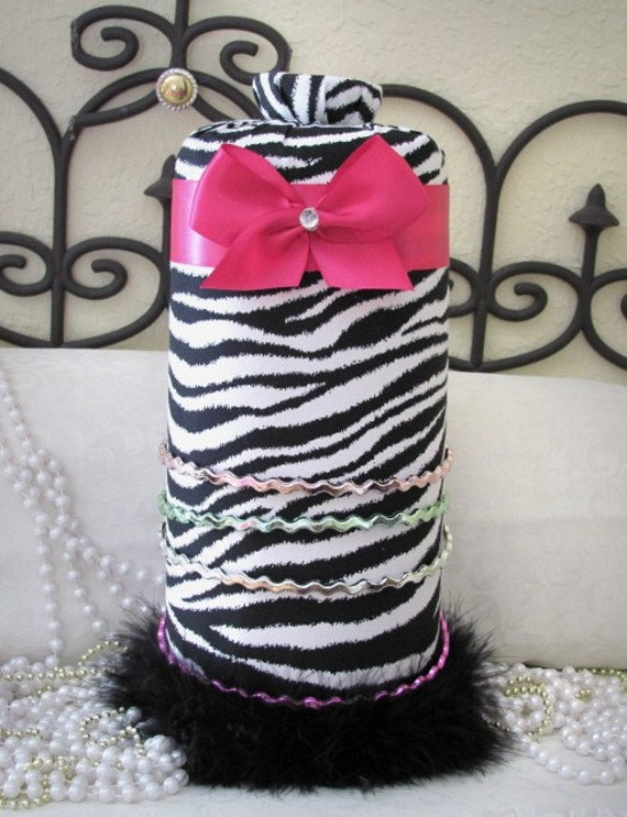 Princess Zebra Black White Hot PiNk Headband Hairbow Jewelry Necklace holder SALE