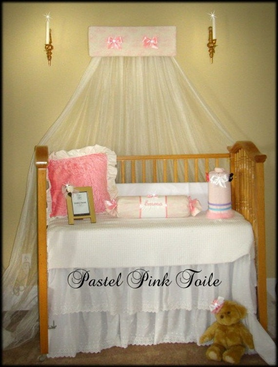 Crib Nursery Canopy Bed Crown Toile Baby Pink Padded Princess