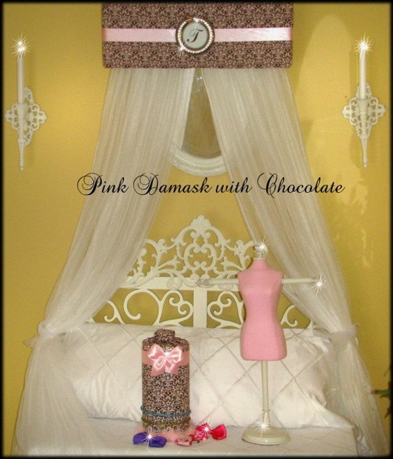 Bed Canopy CROWN Teester FREE Monogram Upholstered with Drapes Silver SaLe Brown Pink Damask