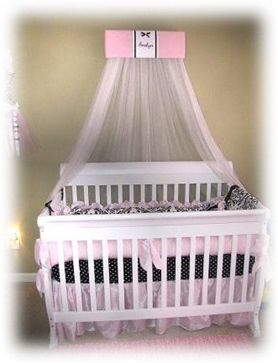 Bed Crown Canopy Princess Pink Black Padded Embroider Monogram canopy sheers SaLe