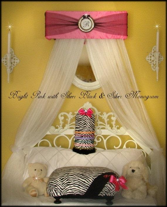 Bed Canopy CrOwN Monogram Upholstered Paris Pink  Black Princess Silver FREE SaLe
