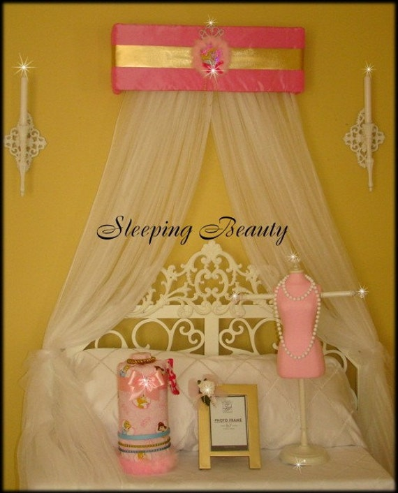 Princess Bed Canopy Girl Crown Pelmet Upholstered Awning: Crown Canopy Sleeping Beauty Aurora Disney Princess Bed With