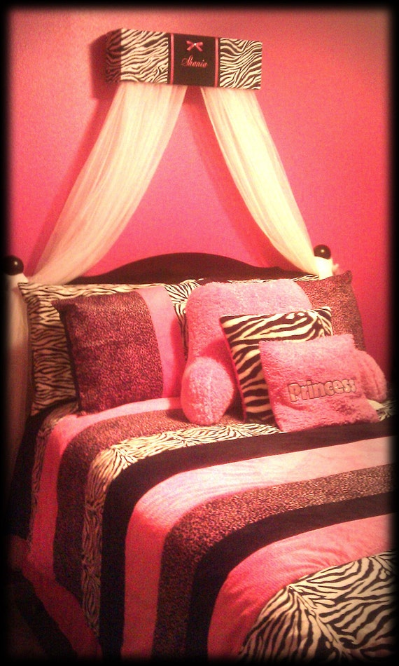 bed canopy crib crown hot pink zebra print sale embroidered 20759 | il 570xn 327779328