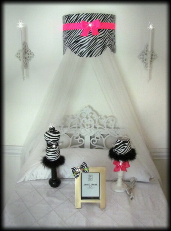 Cornice Teester Bed Crib Crown Canopy Swag Suzette Zebra Hot Pink Bows and Sheers