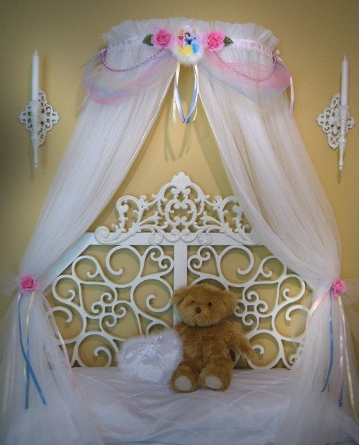 Princess Bed Canopy Girl Crown Pelmet Upholstered Awning: Disney Princess Crown Fairy Bed Canopy Girls Bedroom Netting