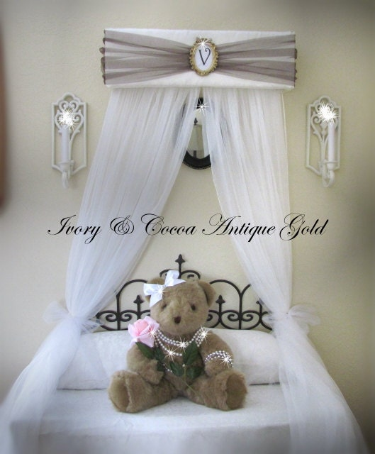 Princess Bed Canopy Girl Crown Pelmet Upholstered Awning: Upholstered Bed Canopy Crown Princess Ivory Brown Gold