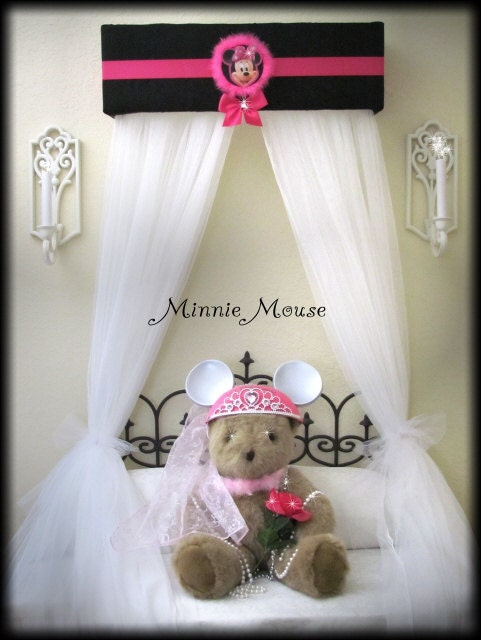 Minnie Mouse Bed Crown Canopy Princess Disney With Curtains