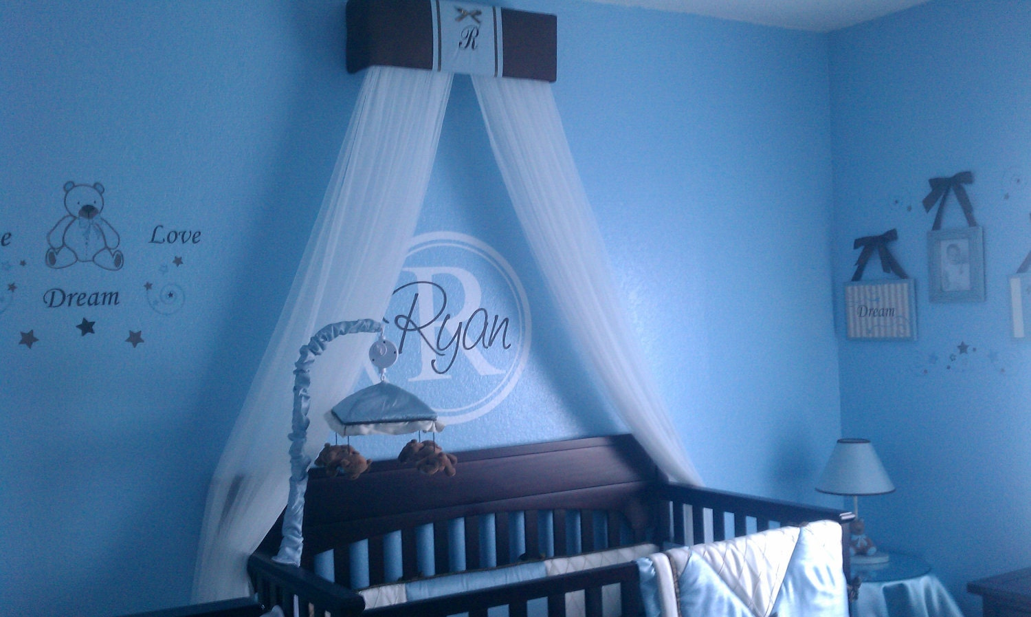 Crib Crown Canopy Prince Brown Blue Padded by SoZoeyBoutique