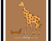 I really look up to you - Giraffe and Dachshund Art Print 8x10 (AP172)