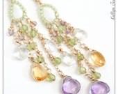 chandelier earrings - multi gemstone briolette earrings - delicate jewelry - colorful statement earrings w/ amethyst citrine peridot stones