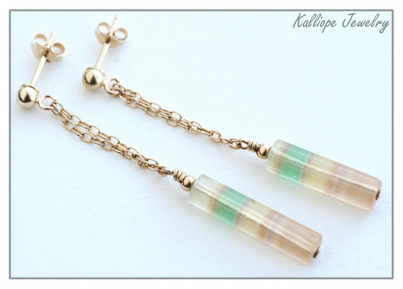 rainbow fluorite earrings - 14k gold filled post earrings - delicate jewelry - long stone post earrings - colorful pastel gold post earrings