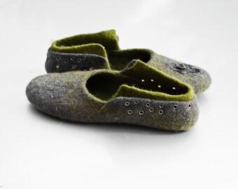 Felt wool women shoes slipper Natural boiled wool women shoes Charcoal grey Olive