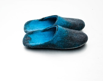 Step-in Felted wool slippers Turquoise with Gray Black Ombre