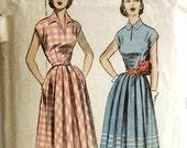 Vintage 1950s Dress Pattern Advance 5809 Bust 30 New Look