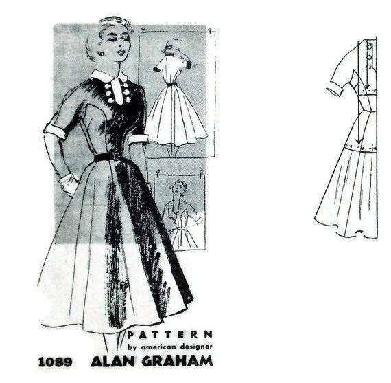 Vintage 50s Dress Pattern Spadea American Designer 1089 Alan Graham Bust 38