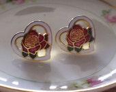 Vintage Red Rose in Heart Earrings