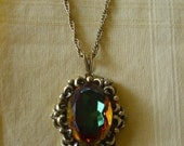 Vintage Watermelon Rhinestone Pendant Necklace