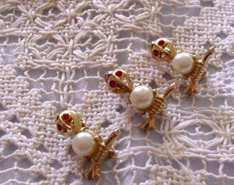 VinTage Red Rhinestone Eyes OWL Scatter Pins Brooches