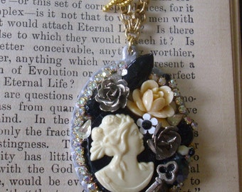 Classic Black and White Cameo with a Twist Pendant Necklace