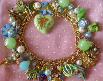 Little Creatures in My Garden Eclectic Charm Bracelet