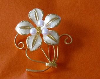 Vintage Creamy Enamel and Pearl Flower Brooch