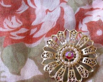 Flower Pin Rhinestone and Pearl Vintage Brooch